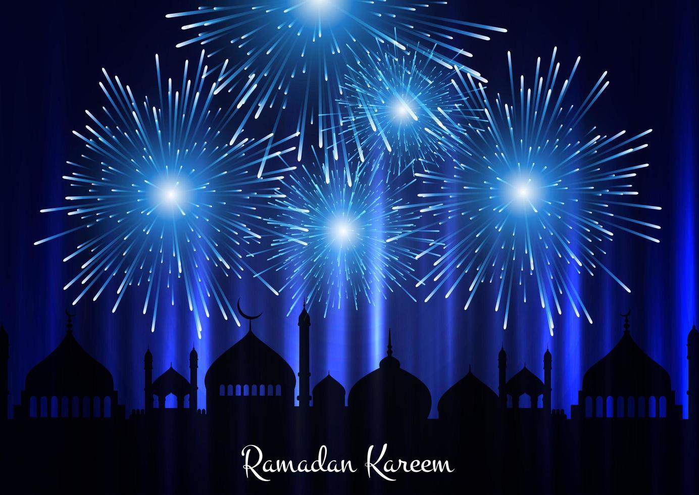 Fondo de Ramadán Kareem con silueta de mezquita y fuegos artificiales vector