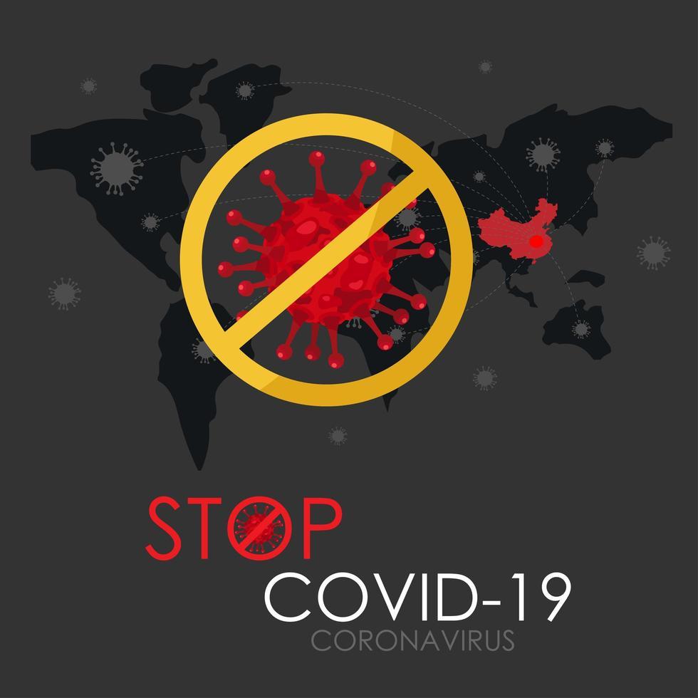 detener el cartel de propagación global covid-19 vector