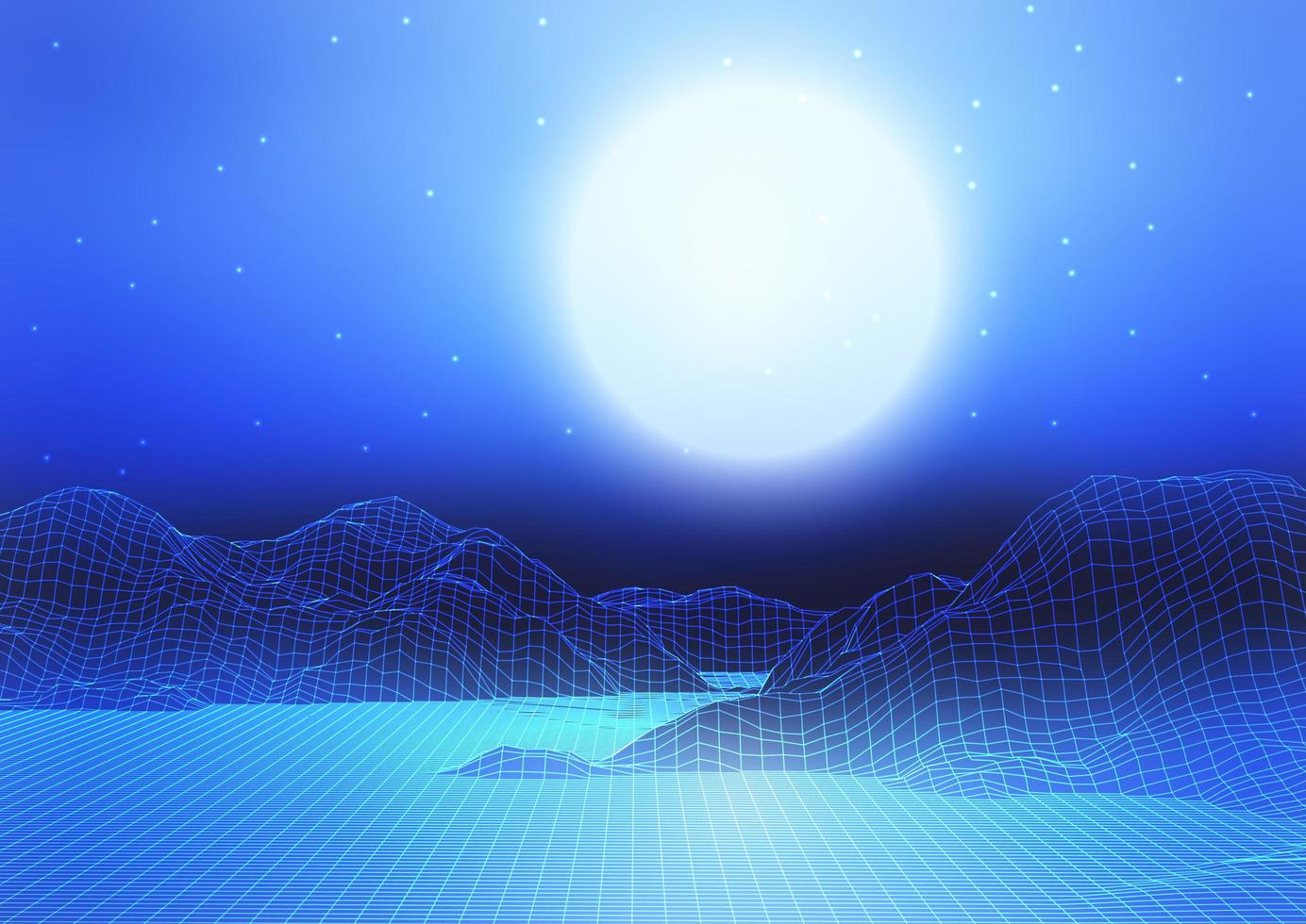 Abstract Wireframe Landscape with Moon and Starry Sky