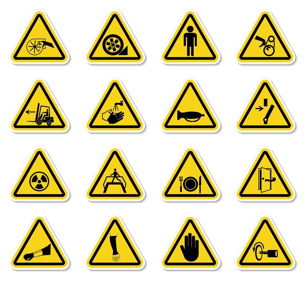 conjunto de símbolos de perigo de aviso vetor