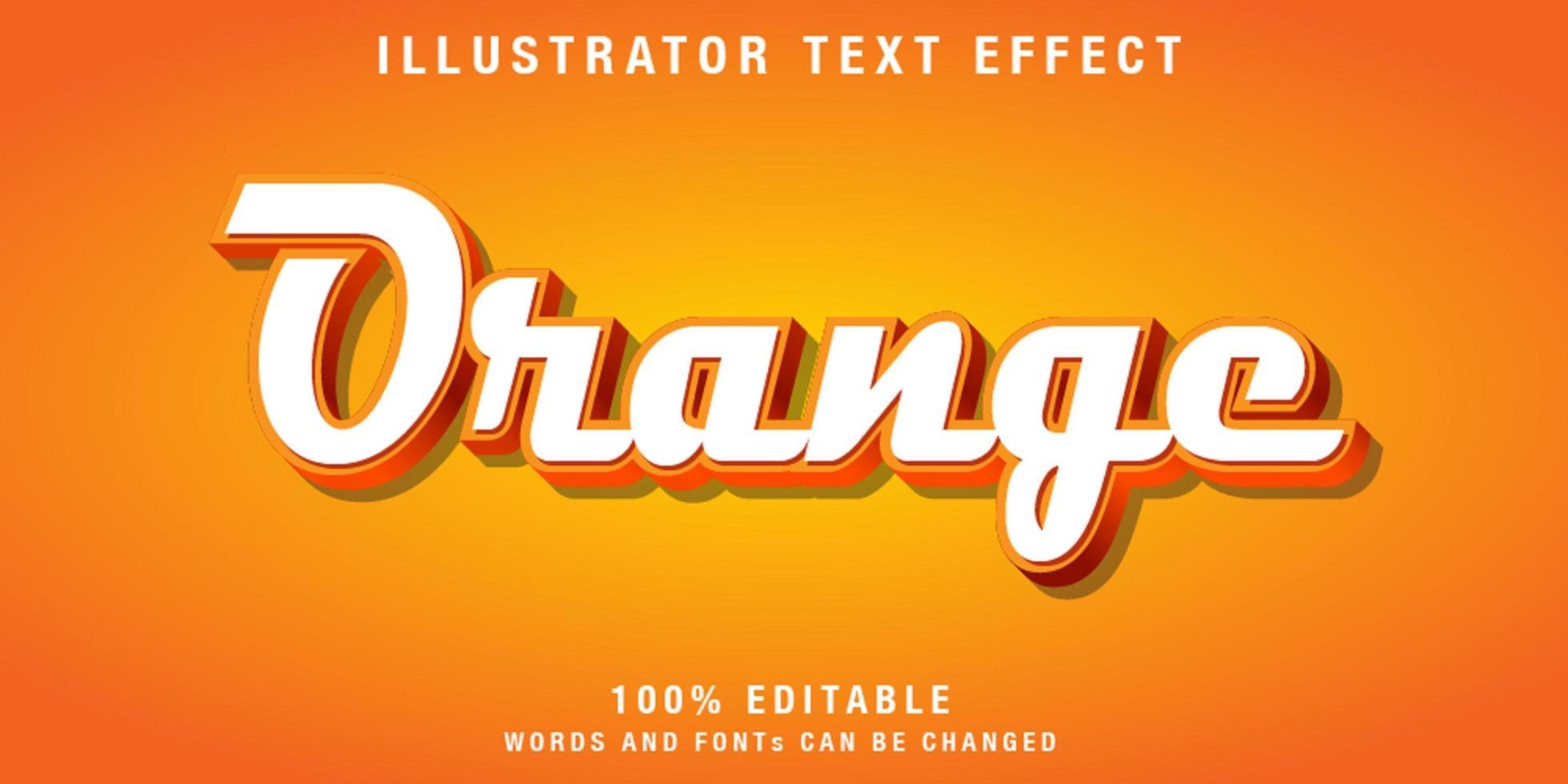 efeito de texto cursivo editável em branco e laranja vetor