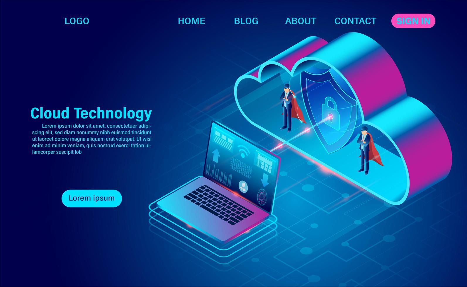 Geschäftsleute mit Umhängen, die Daten in der Cloud schützen vektor