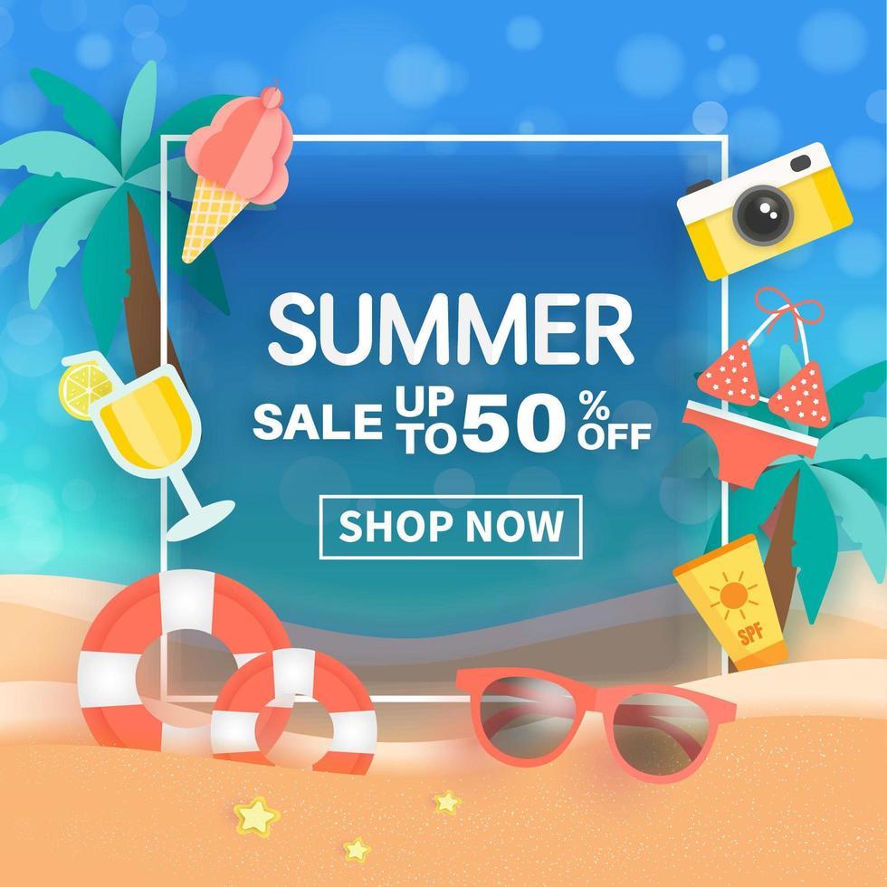bannière de vente d'été avec des éléments d'été dans le cadre vecteur