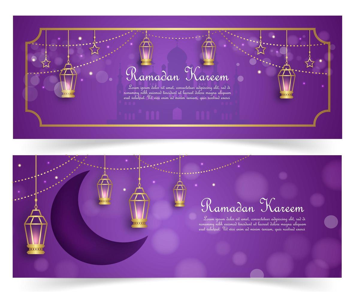 conjunto de banner de ramadan kareem morado y dorado vector