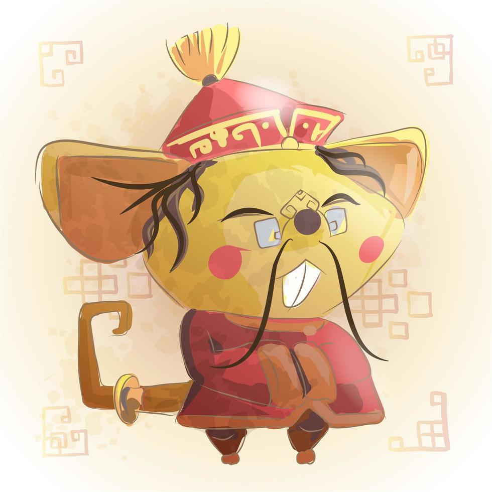 Mouse Chinese zodiac animal cartoon. vector