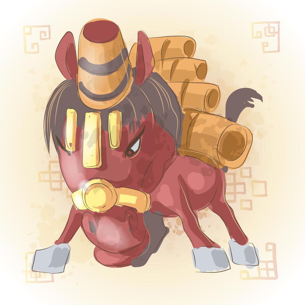 Caballo zodiaco chino animal cartoon vector