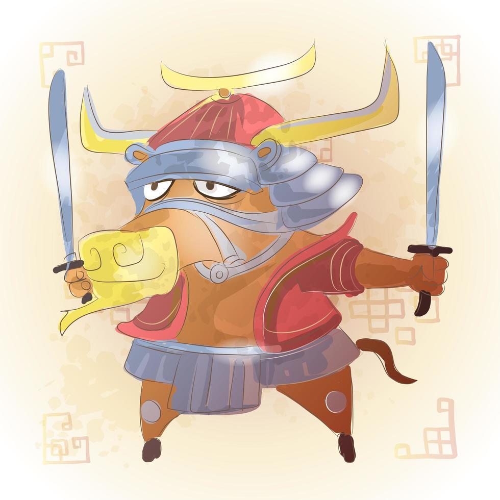Ox Chinese zodiac animal cartoon vector