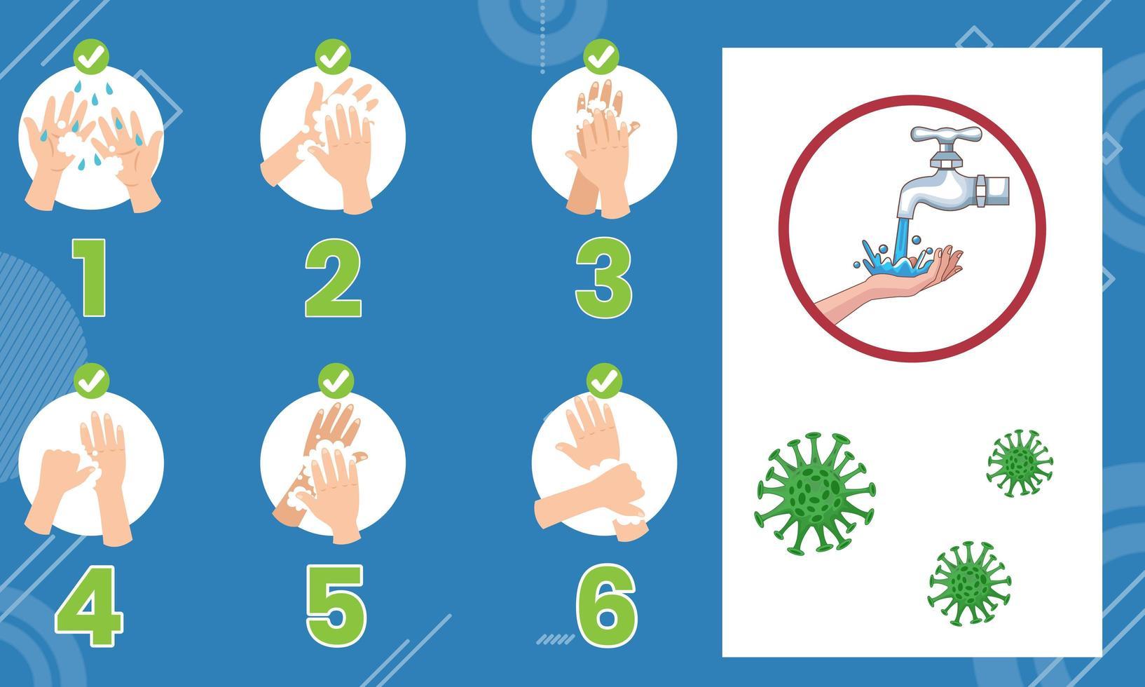 come lavarsi le mani infografica vettore