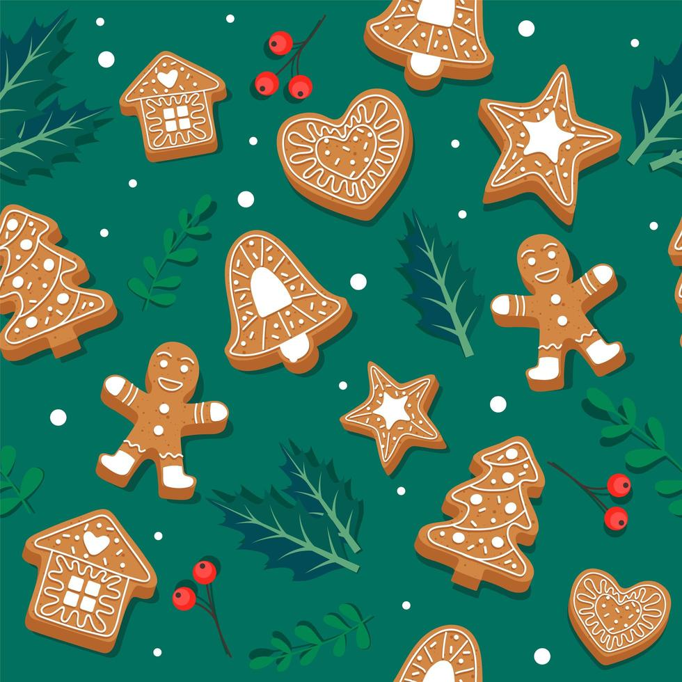 Gingerbread cookie pattern with leaves vector