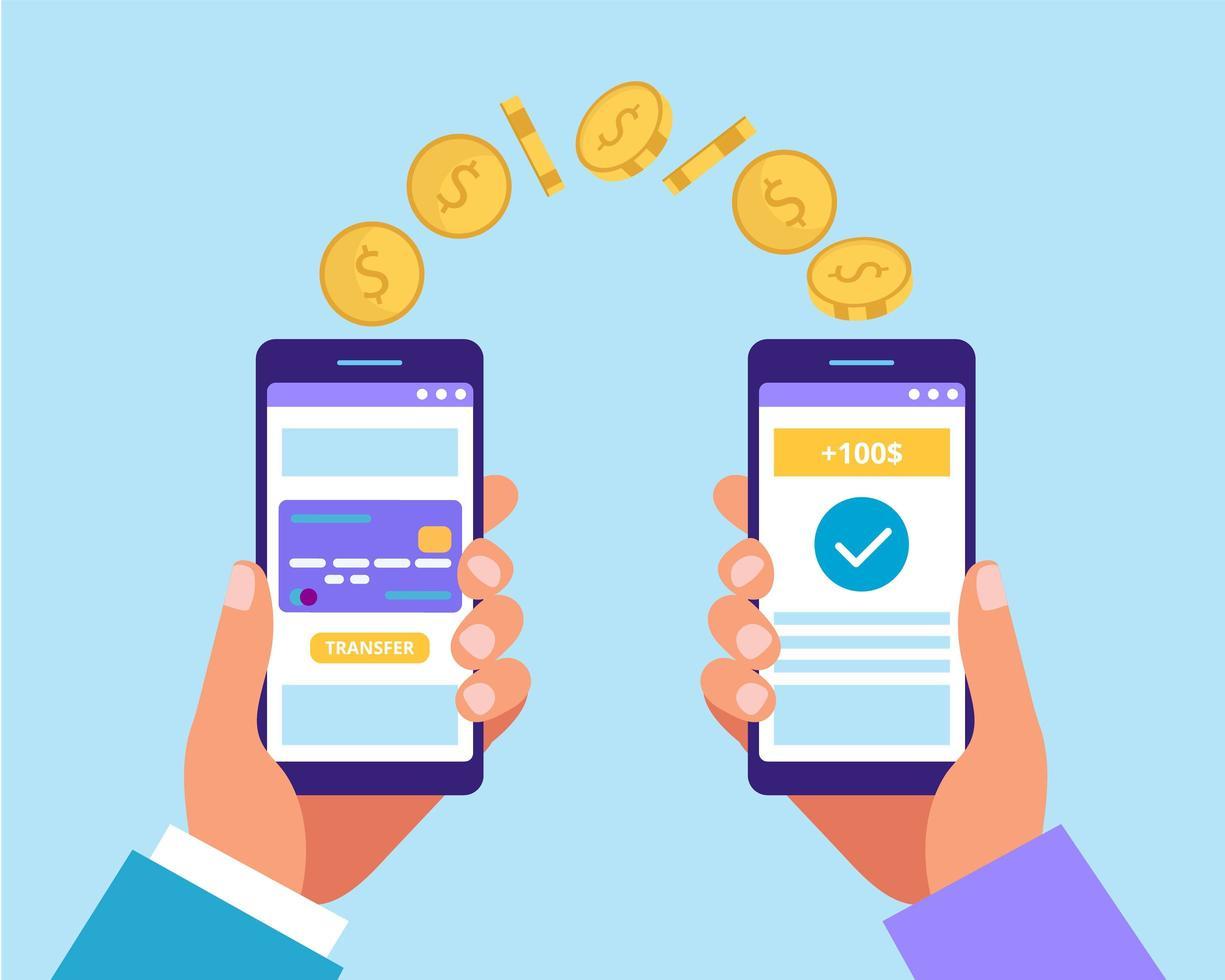 manos sosteniendo teléfonos inteligentes y enviando dinero vector