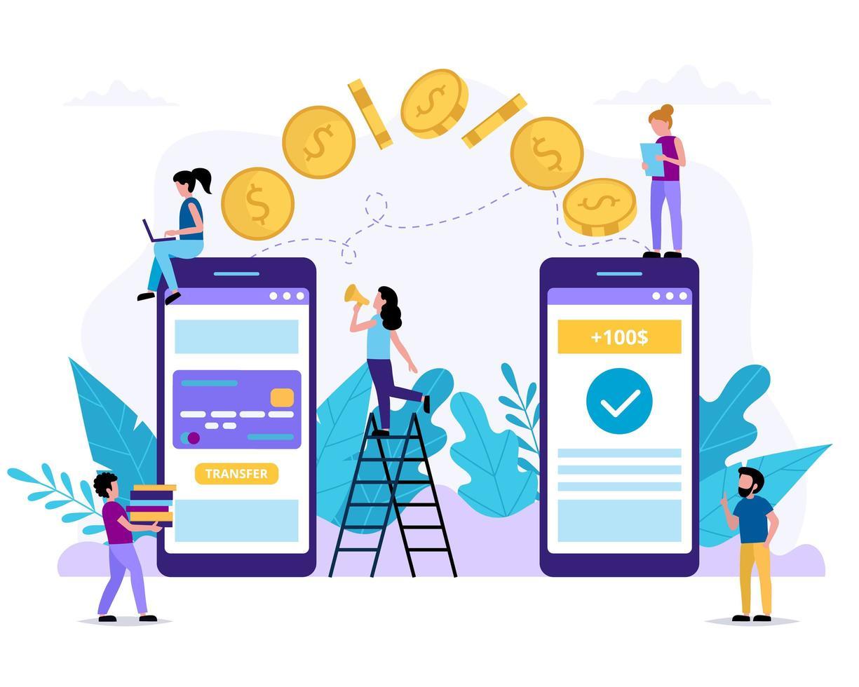 pessoas pequenas enviando dinheiro via smartphone vetor