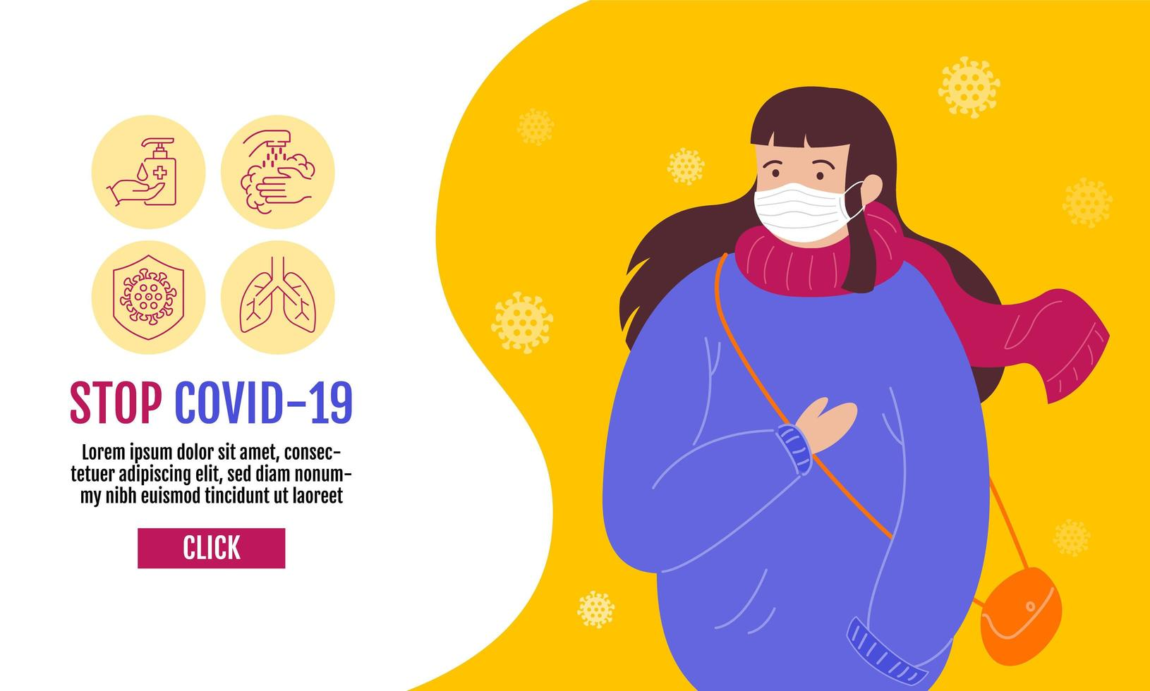 Stop Covid-19 banner template with woman in mask vector