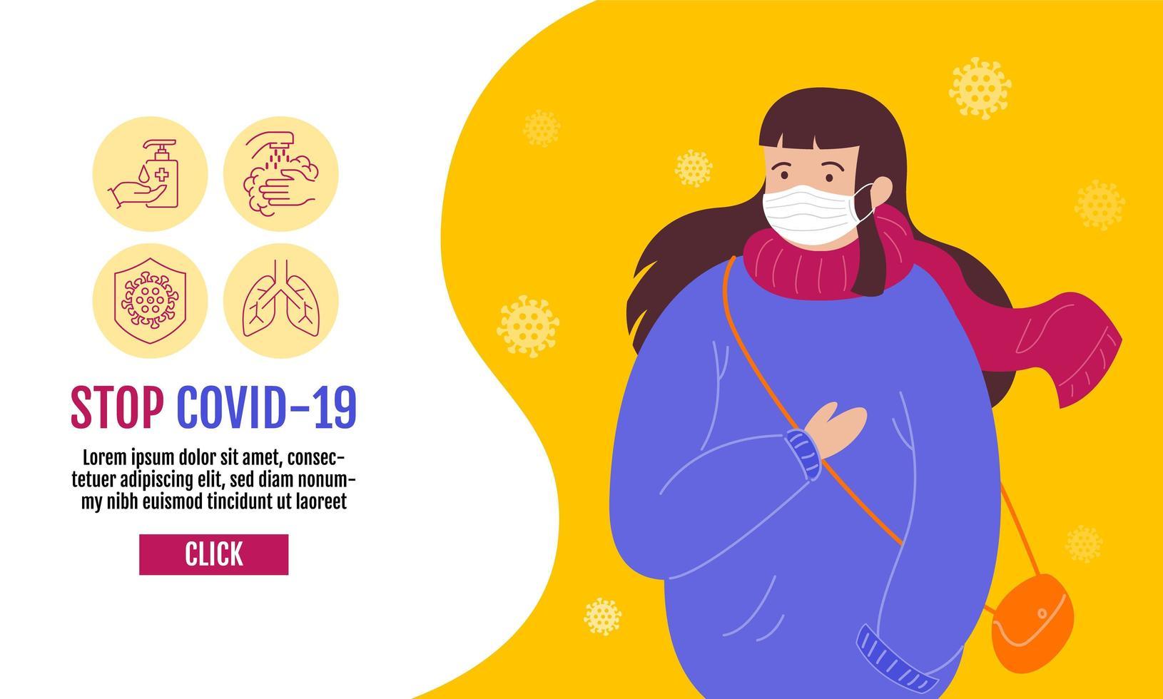 detener la plantilla de banner covid-19 con mujer en máscara vector