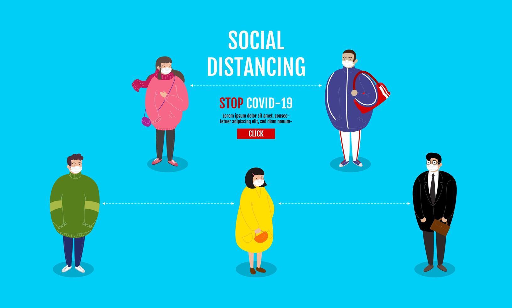 grupo de personajes practicando distanciamiento social vector