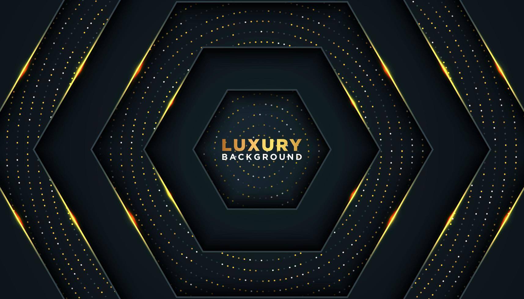 Navy and Gold Background with Layered Hexagons vector