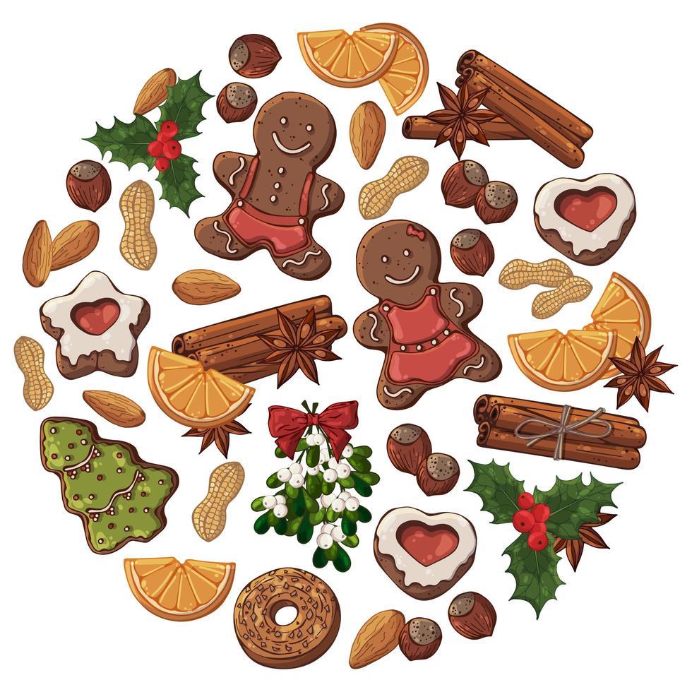 uppsättning av handritade julföremål och godis vektor