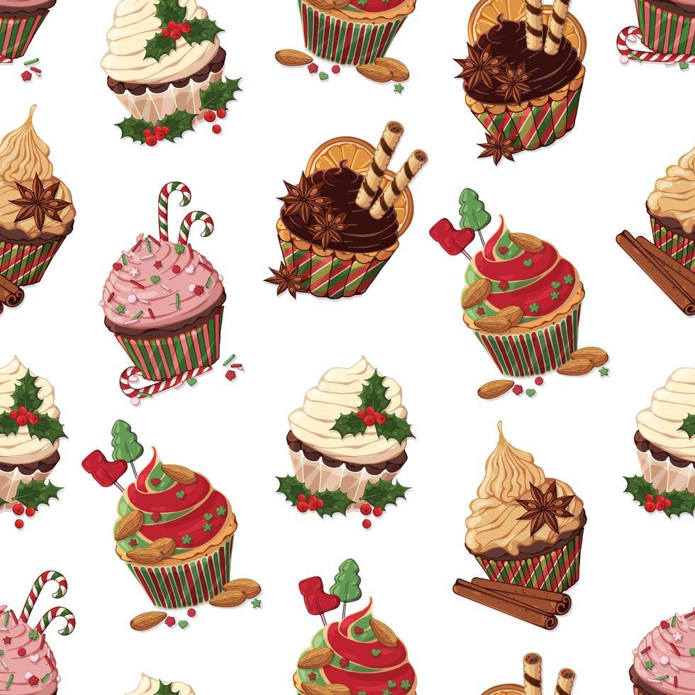 Kerst cupcakes patroon vector