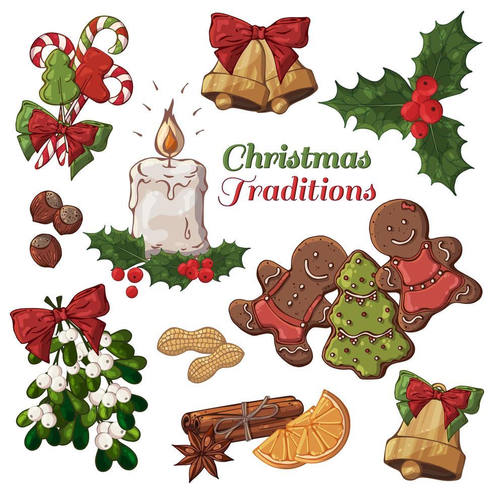bunte Illustrationen von Weihnachtsartikeln einschließlich Kerze vektor