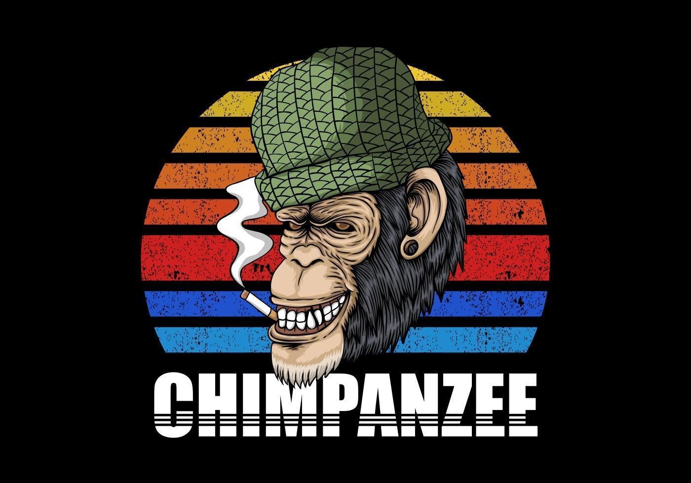 Chimpanzee Smoking Retro Illustration vector