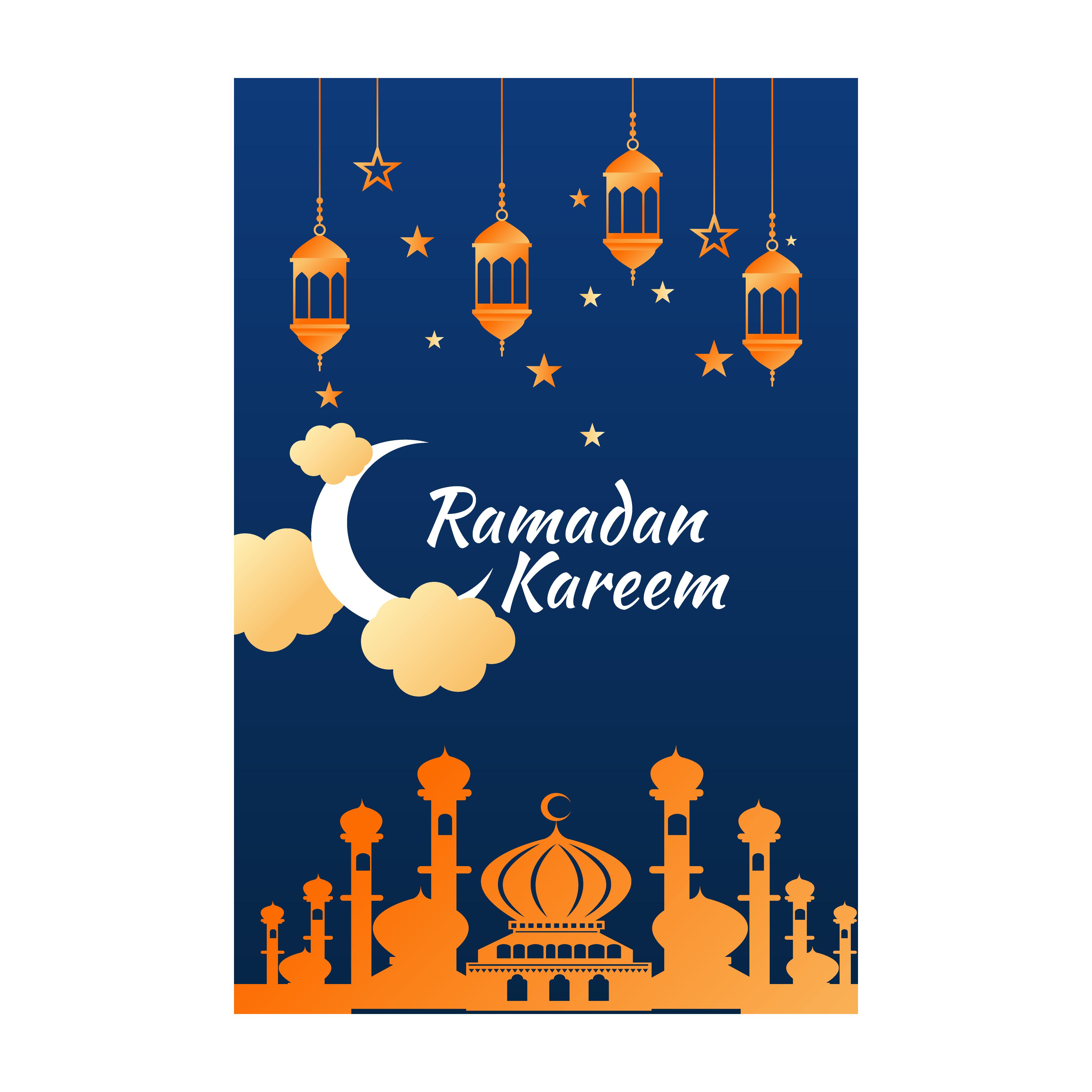 Ramadan Kareem Flyer With Orange Mosque And Lanterns Download Free Vectors Clipart Graphics Vector Art