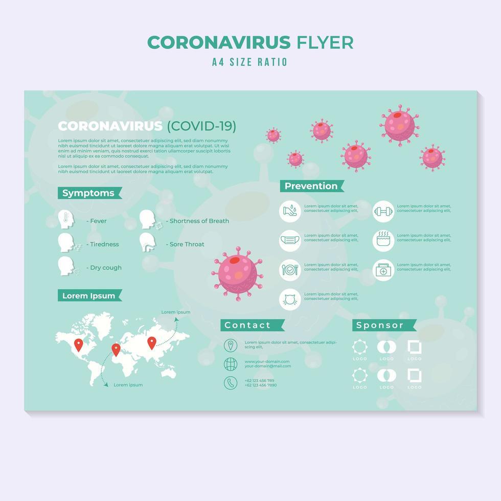 Coronavirus or COVID-19 Educational Infographic in Green vector