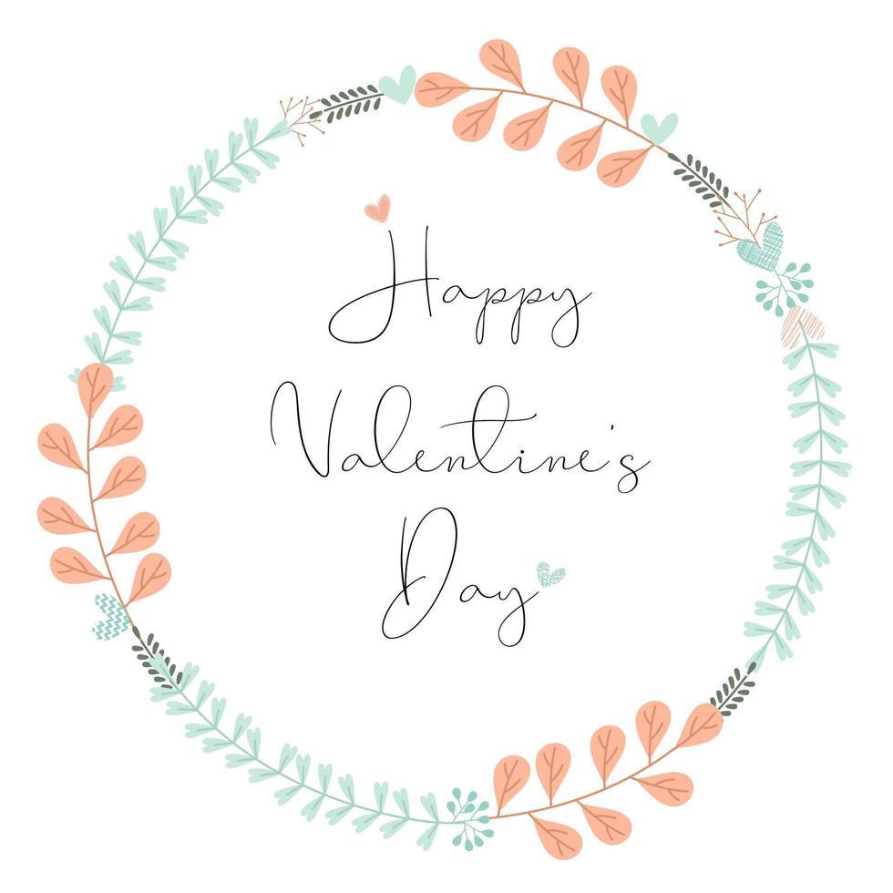 Feliz día de San Valentín letras a mano en guirnalda floral vector