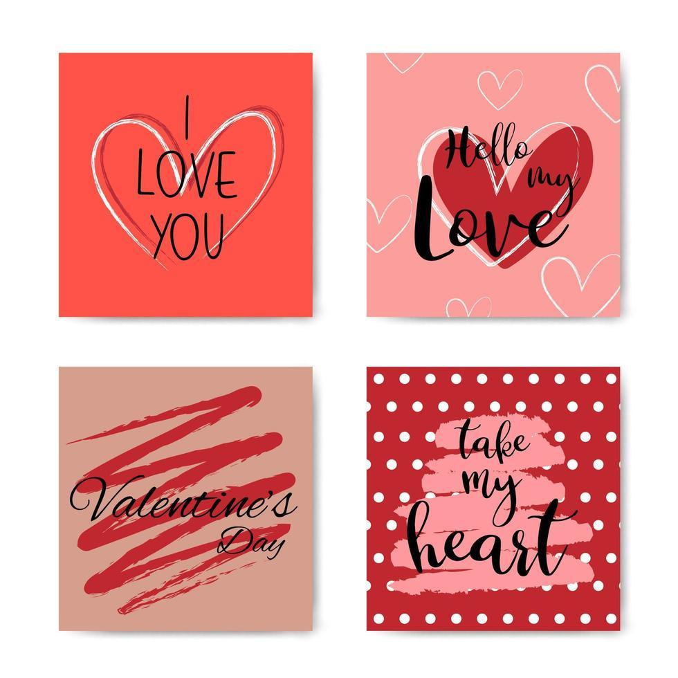 alla hjärtans dag handbokstäver fras kortuppsättning vektor