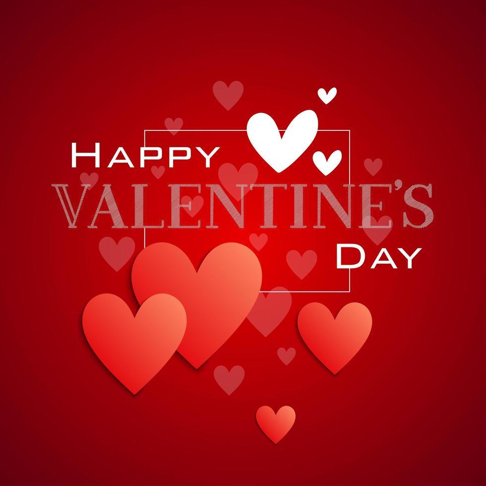 feliz día de san valentín tipografía y corazones vector