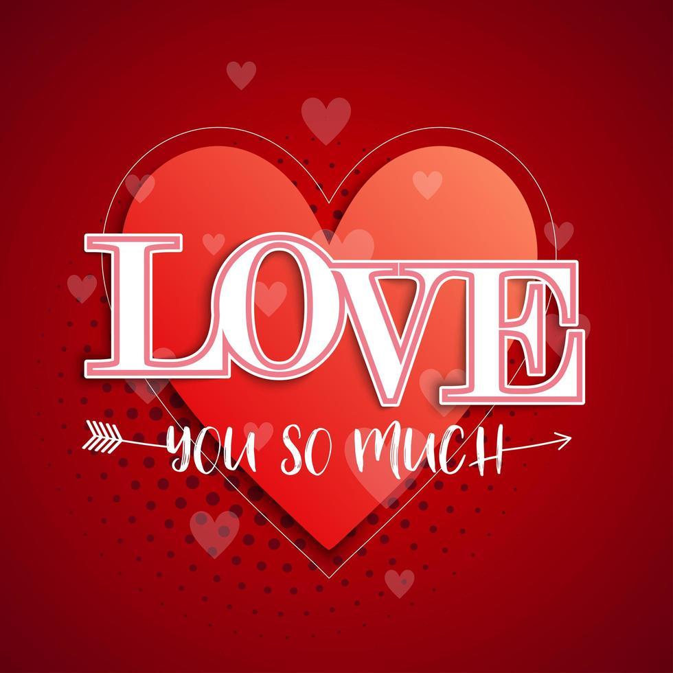 '' älskar dig så mycket '' typografi hjärta och pil bakgrund vektor