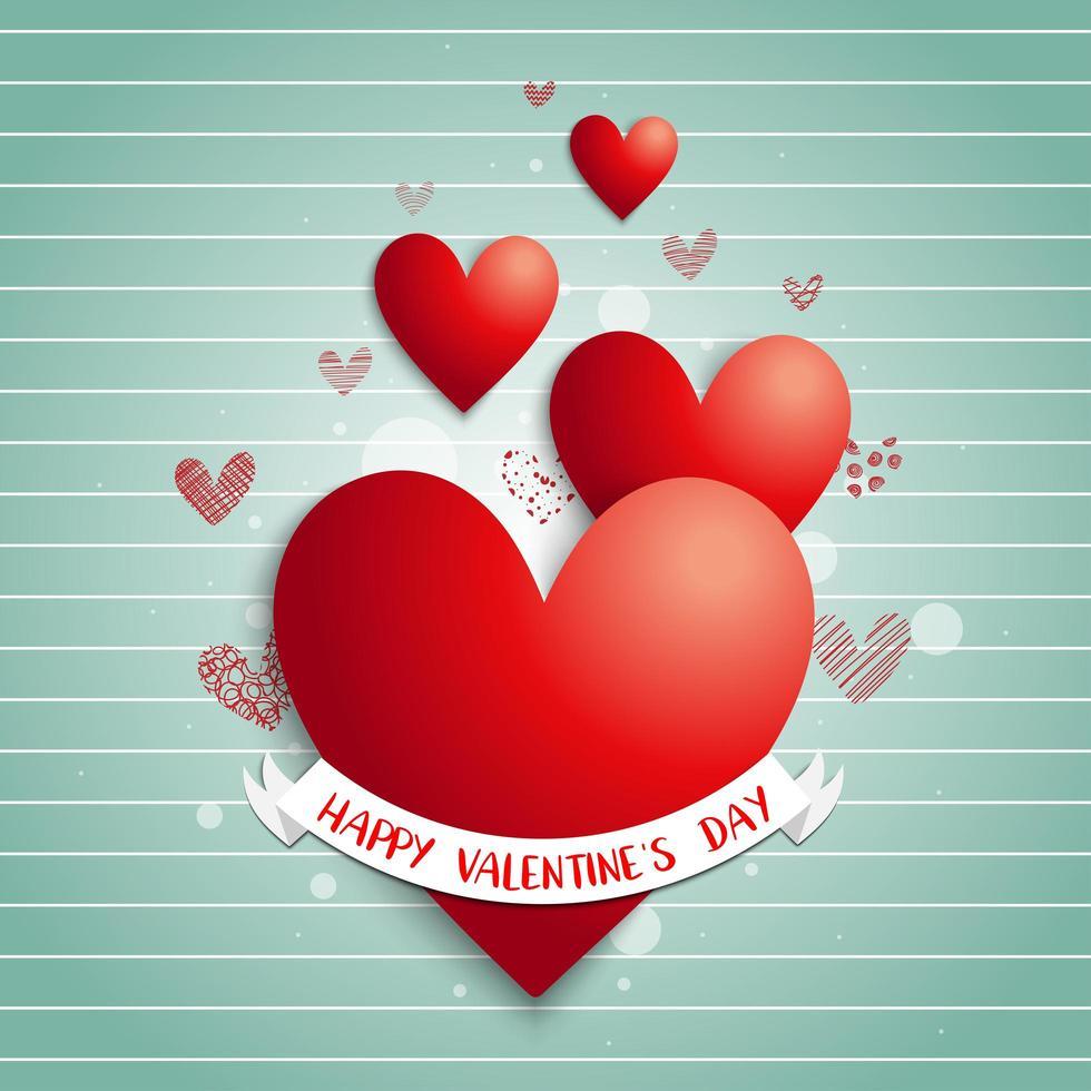 pancarta de feliz día de san valentín en corazones rojos vector