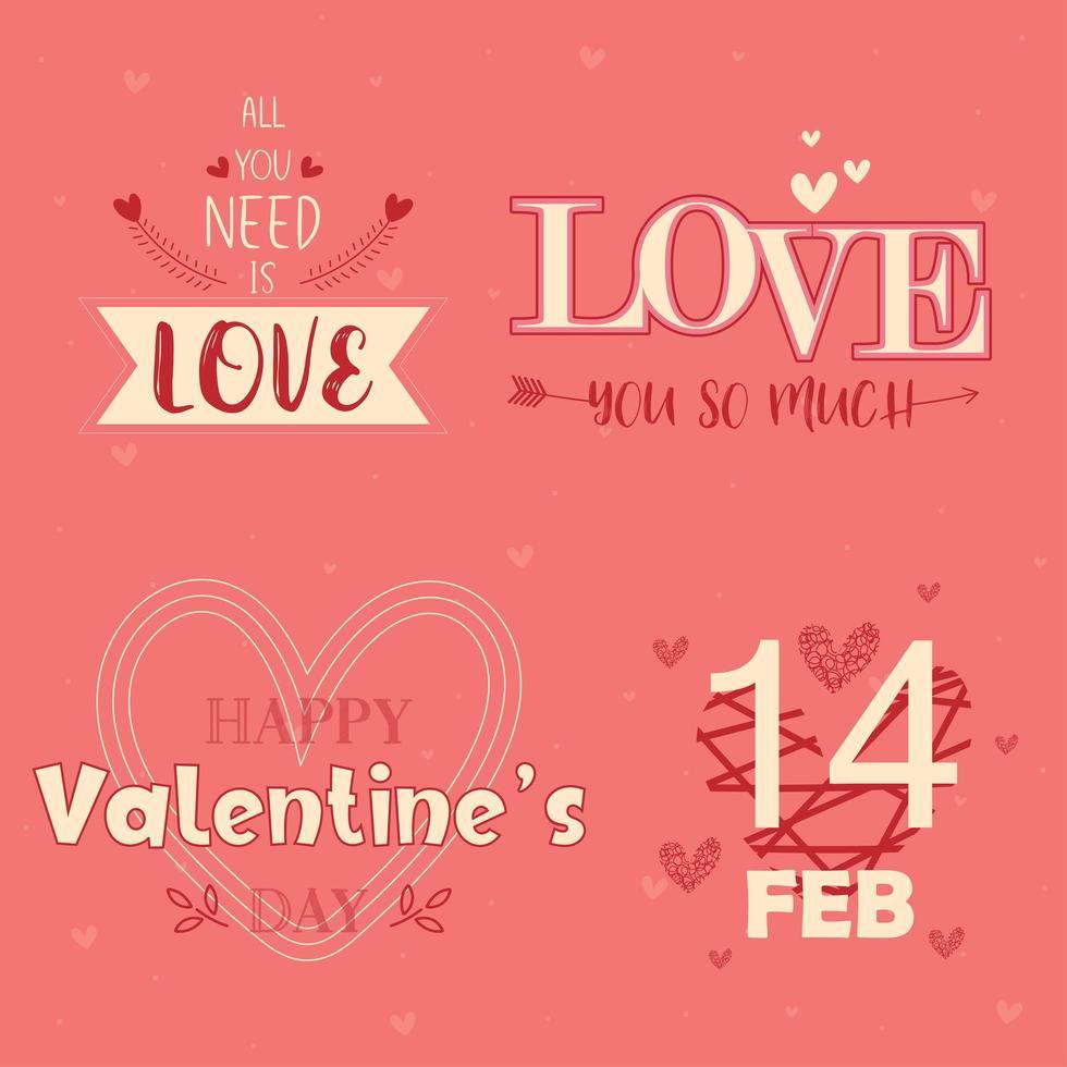 mensagem de tipografia de dia dos namorados conjunto em rosa vetor