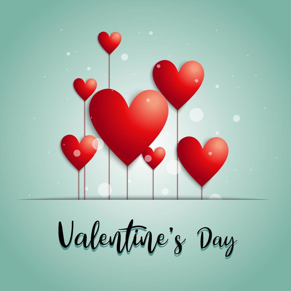 '' dia dos namorados '' letras de mão com balões de coração vetor