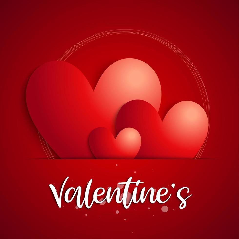 '' valentin '' text och hjärtan i pappersspalt vektor