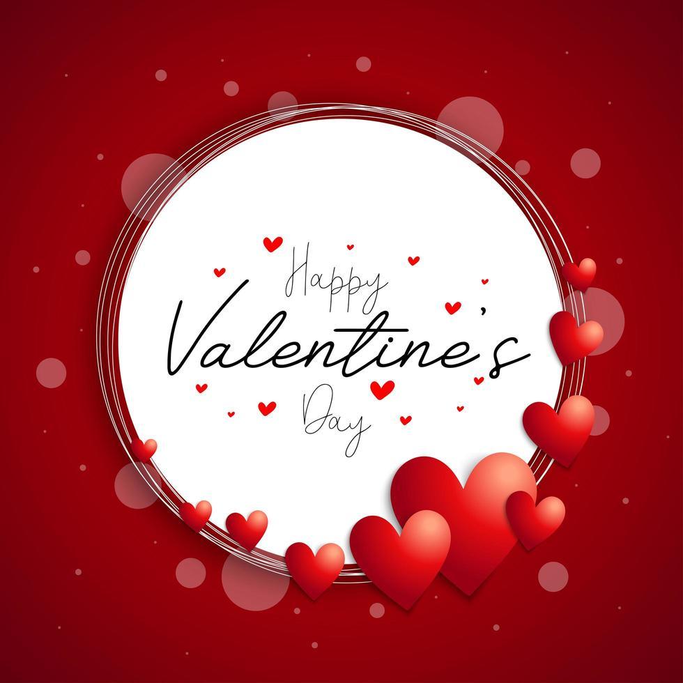 Fondo de corona de corazón '' feliz día de San Valentín '' vector