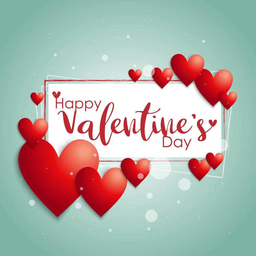 ''Happy Valentine's Day'' Text Frame with Hearts vector