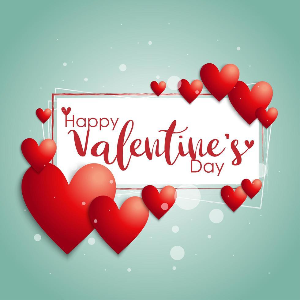 marco de texto '' feliz día de san valentín '' con corazones vector