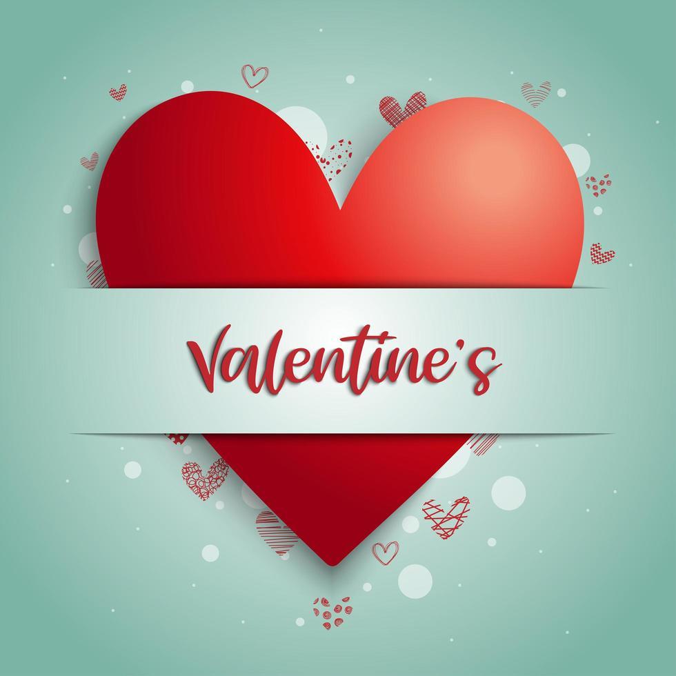 Texto con letras de mano de '' San Valentín '' en pancarta en el corazón vector