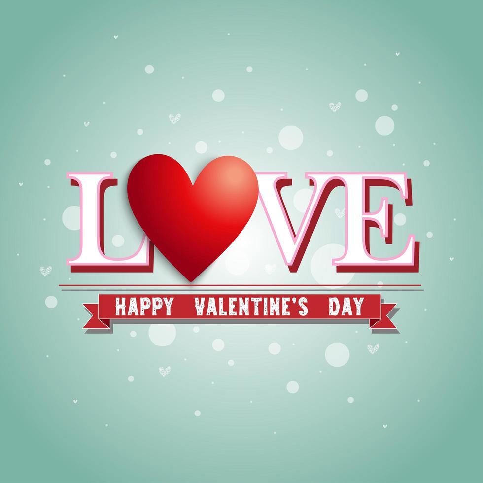 texto 'amor' arriba 'banner de feliz día de san valentín' vector