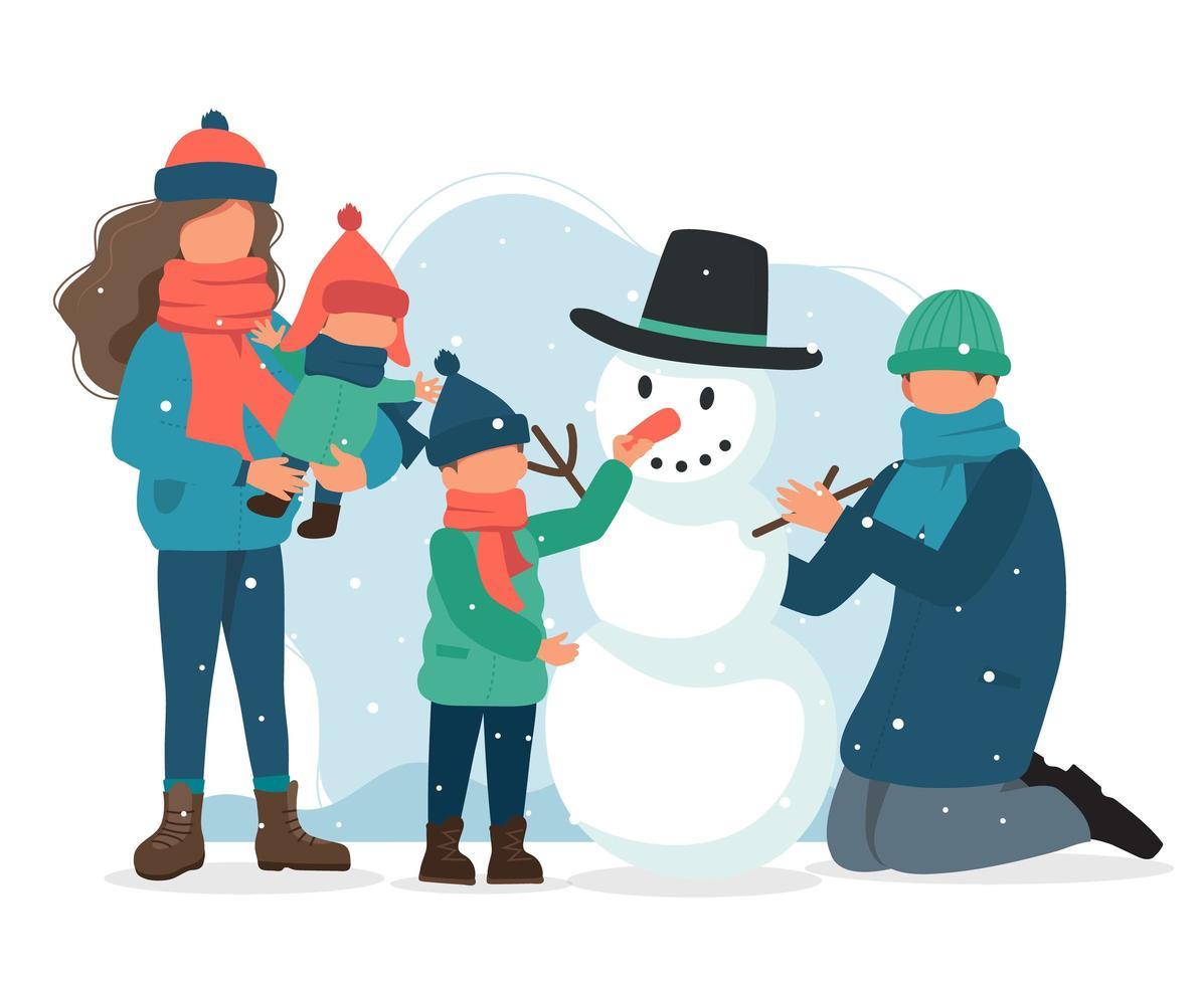 Madre Con Niño Y Familia Haciendo Muñeco De Nieve Descargar Vectores Gratis Illustrator Graficos Plantillas Diseño