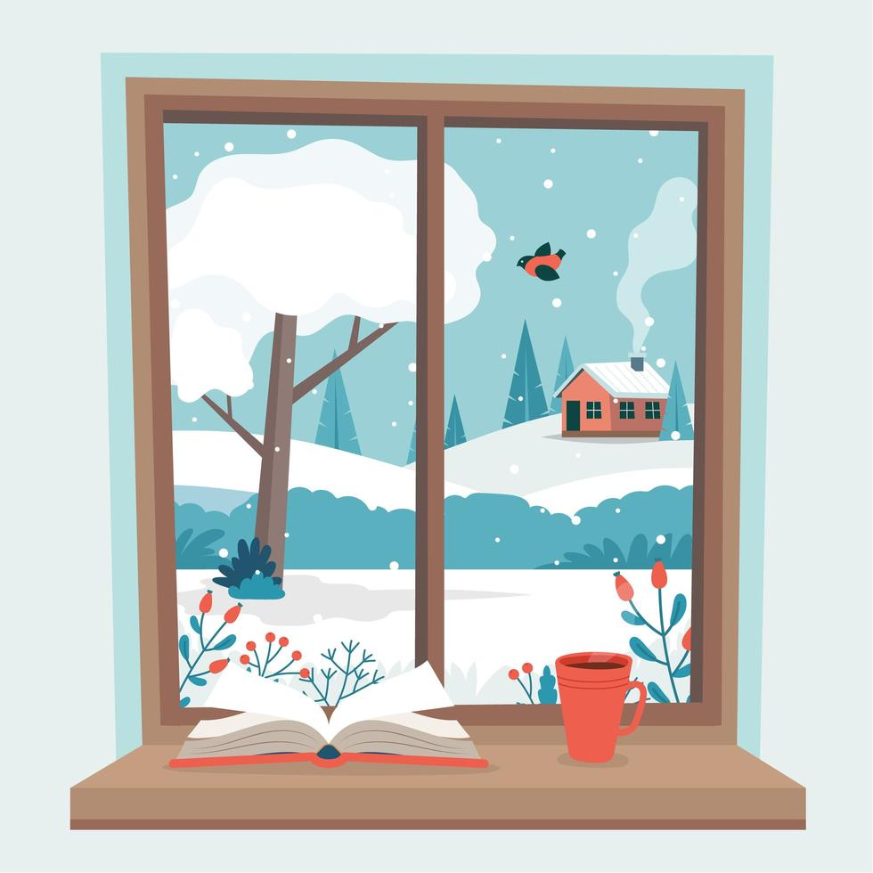 Window with winter view, book and a coffee vector