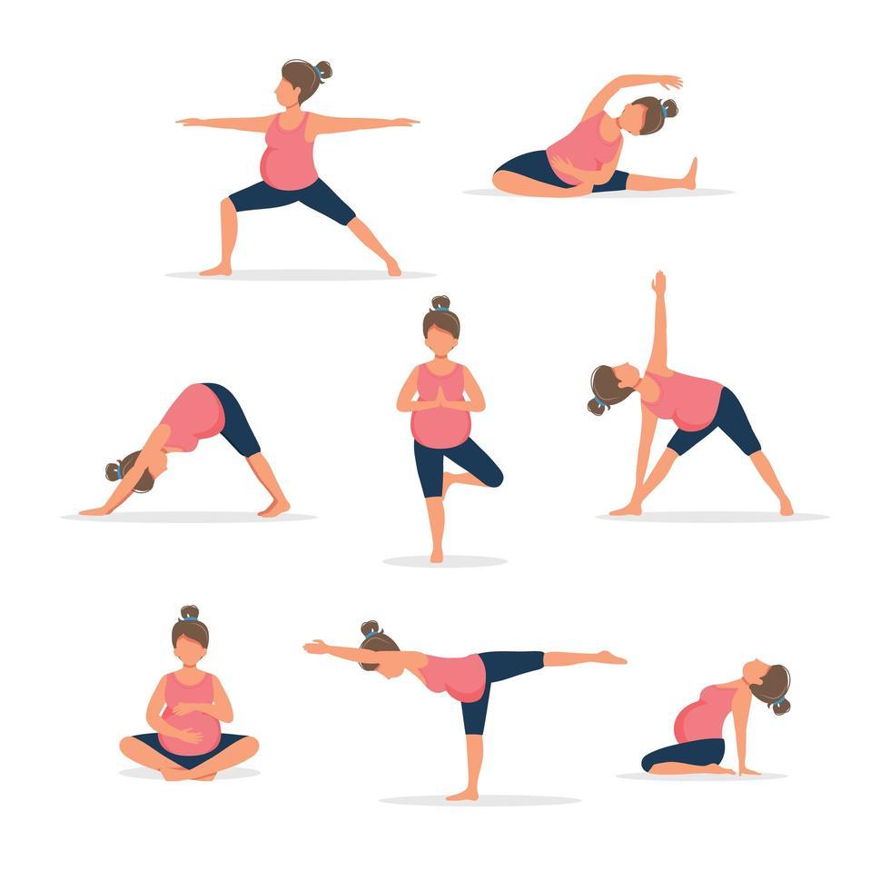 femme enceinte, pratiquer, yoga, ensemble vecteur
