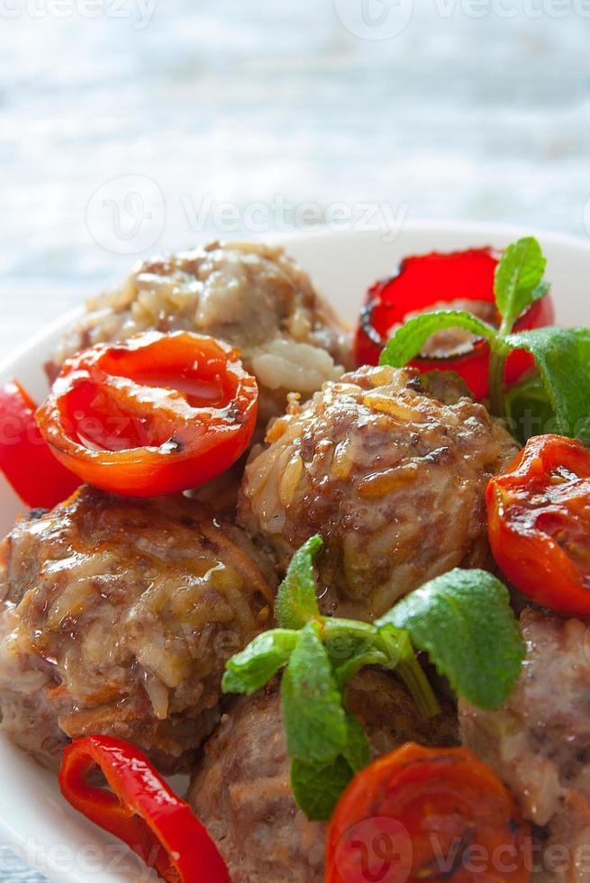 Meatballs close up photo