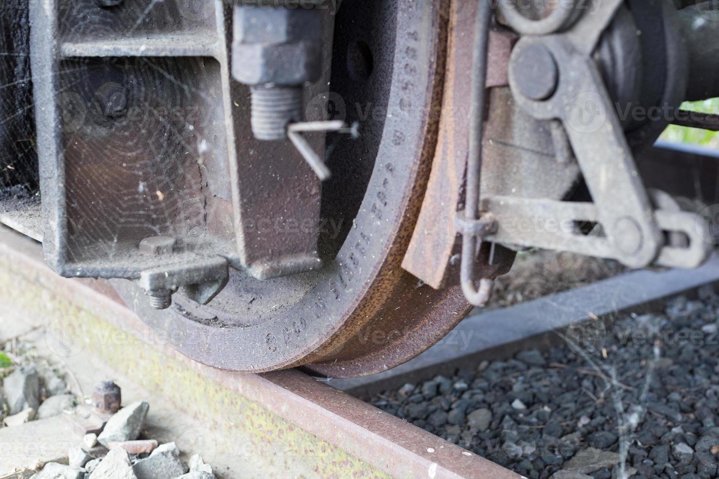 Train wheel close up photo