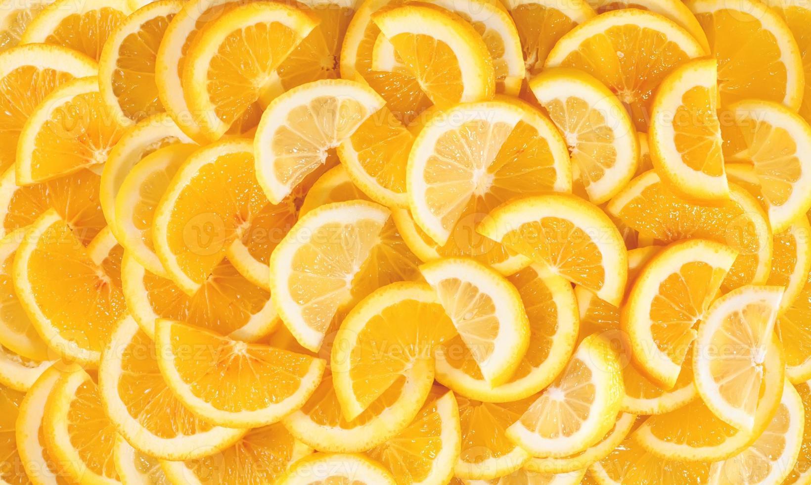 Fresh lemon slices background photo
