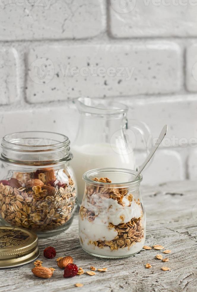 Homemade granola and natural yoghurt photo