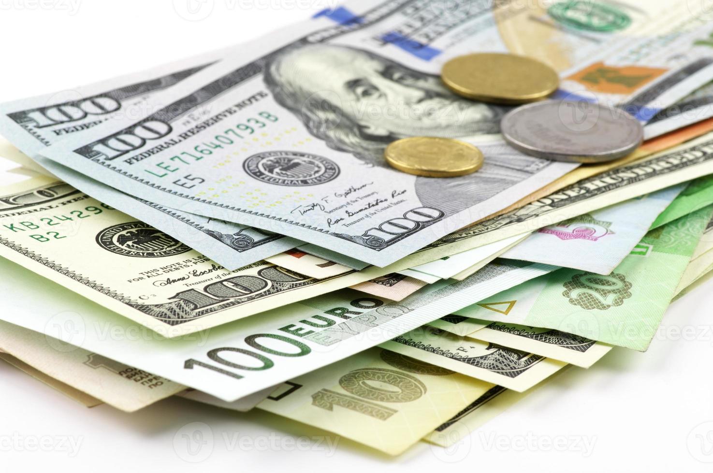 Various currencies close-up photo