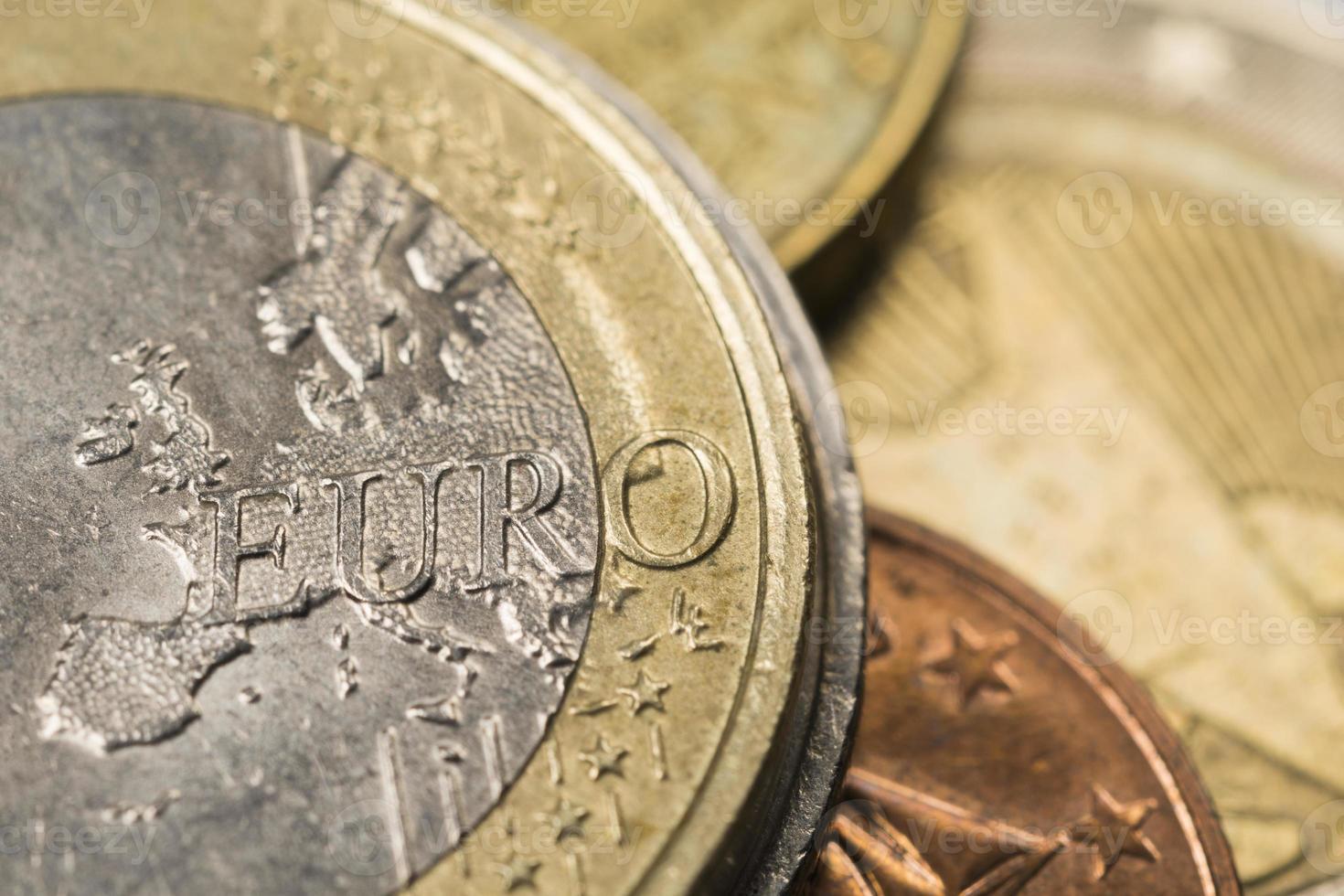 Euro coins, close up photo