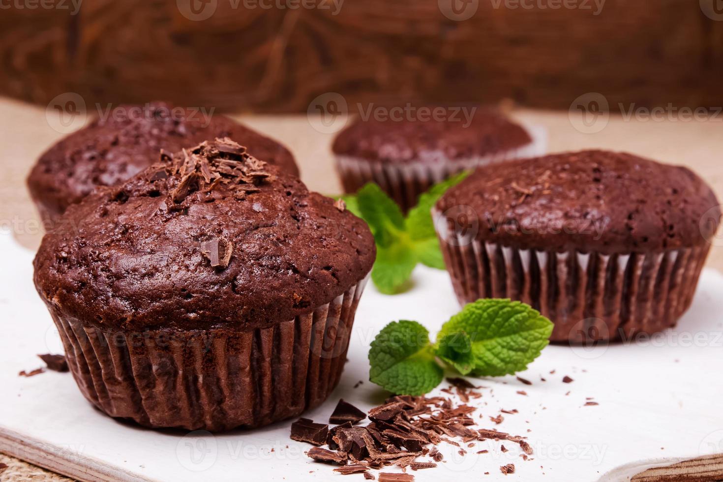 Chocolate muffins close-up photo