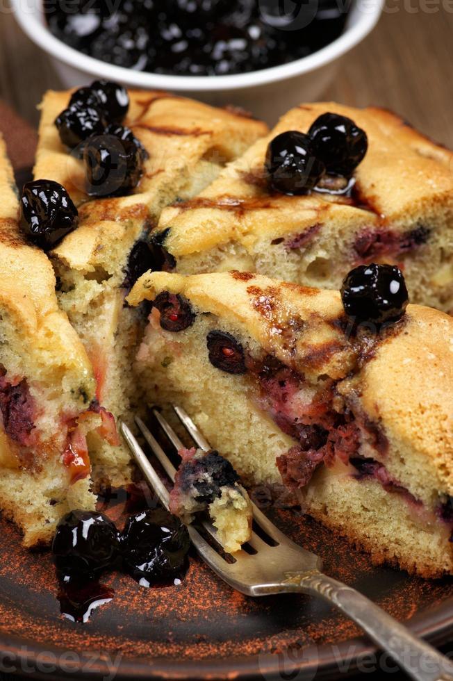 primer plano de tarta de frutas foto