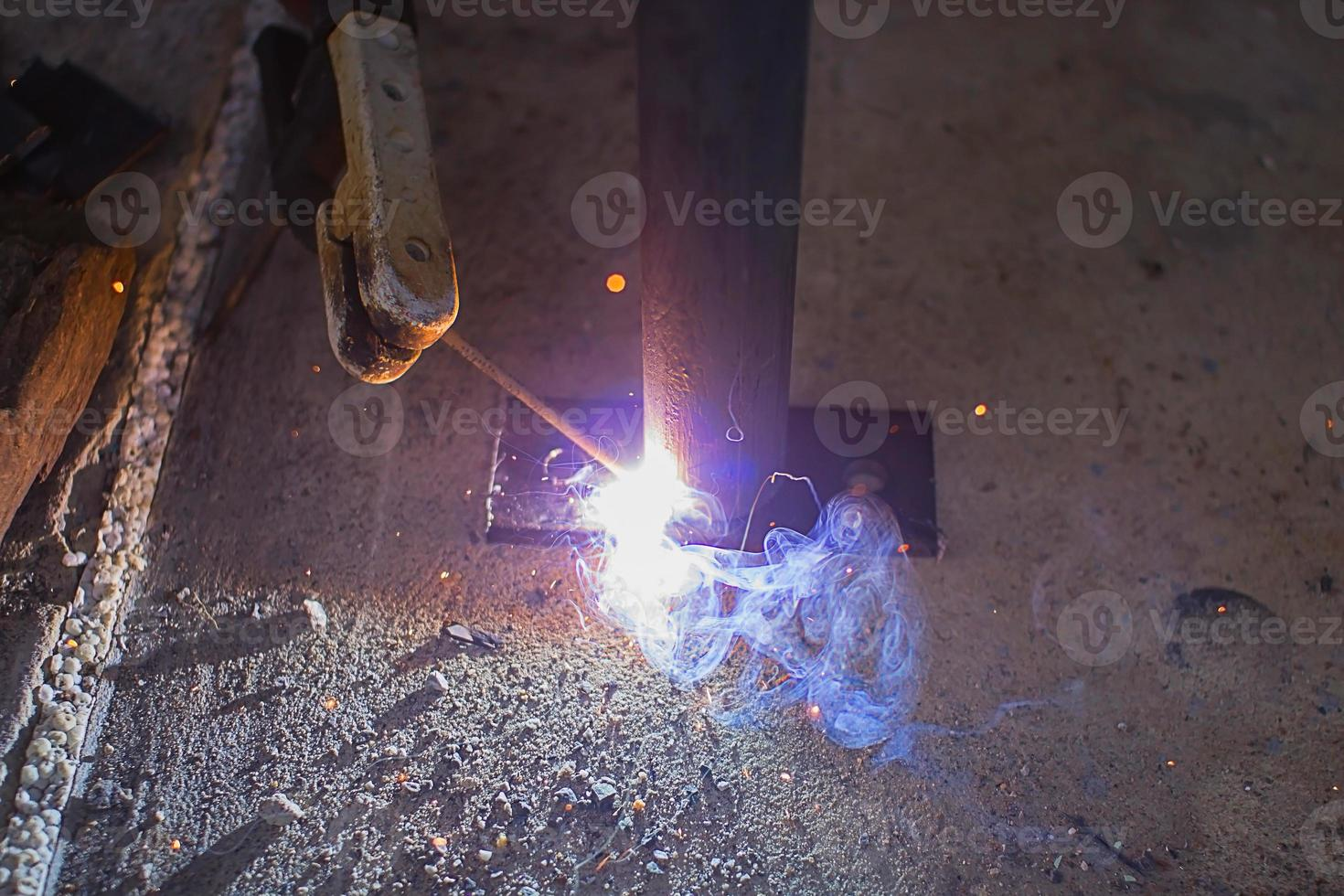 Steel welding close up photo